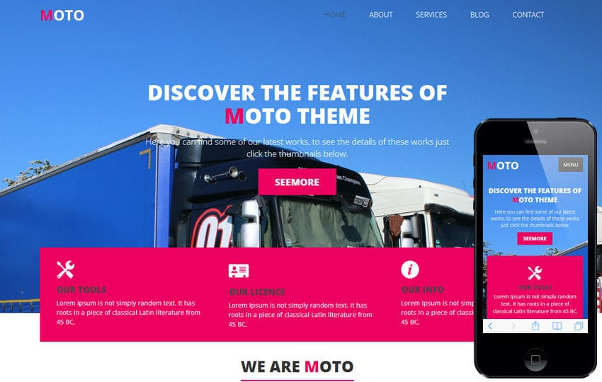 Free One Page Themes - Moto - <p>A Transportation Oriented Theme</p>