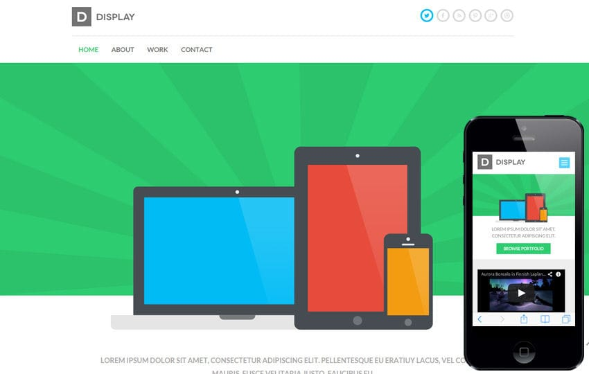 Display a Mobile App based Flat Bootstrap Responsive web template Mobile website template Free