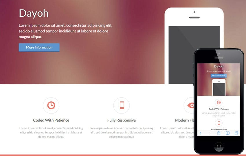 Dayoh a landingpage Multipurpose Flat Bootstrap Responsive web template Mobile website template Free