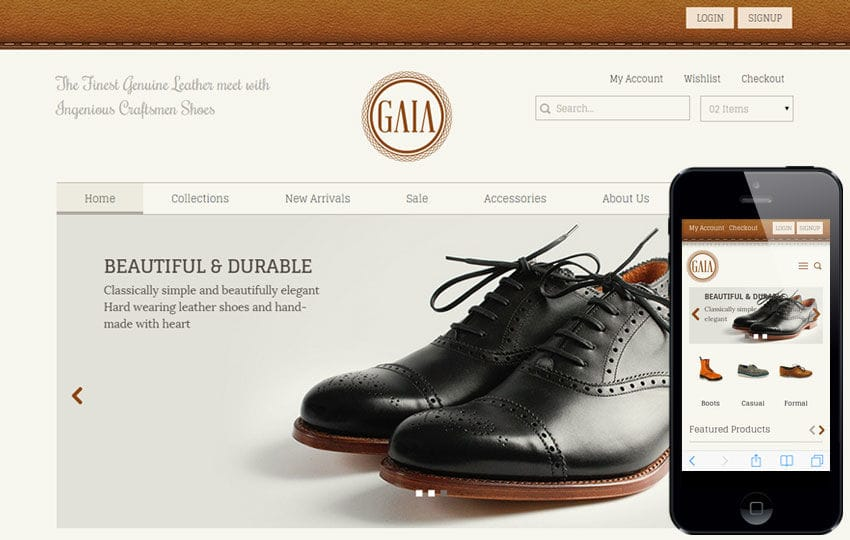 Gaia a Flat ECommerce Bootstrap Responsive Web Template Mobile website template Free