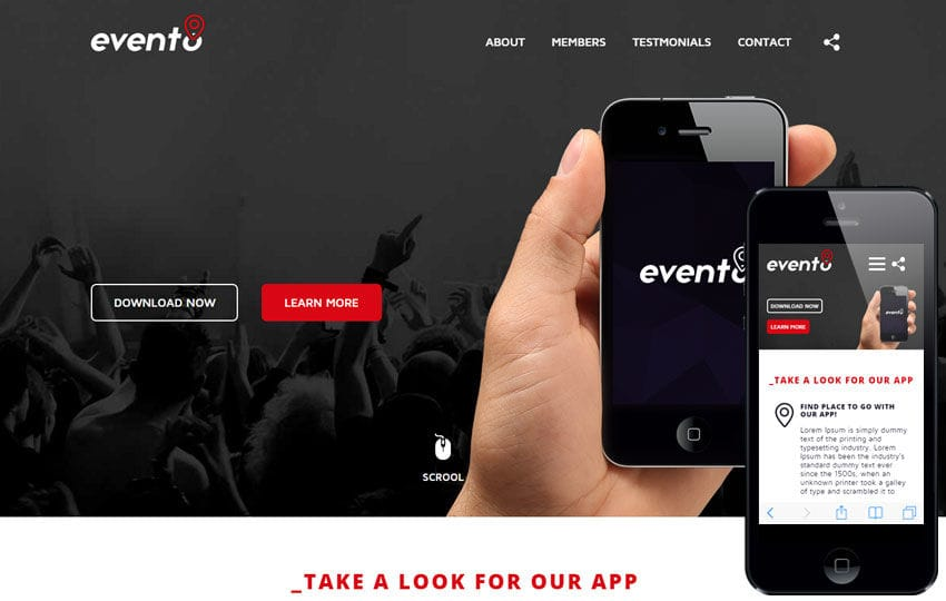 Evento A Mobile App Based Flat Bootstrap Responsive Web