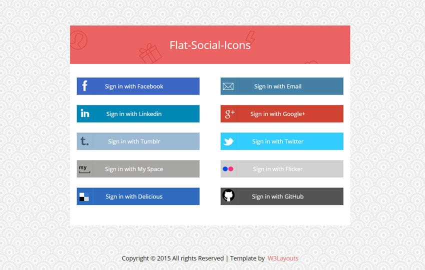 flat social media icons widget template by w3layouts. Black Bedroom Furniture Sets. Home Design Ideas