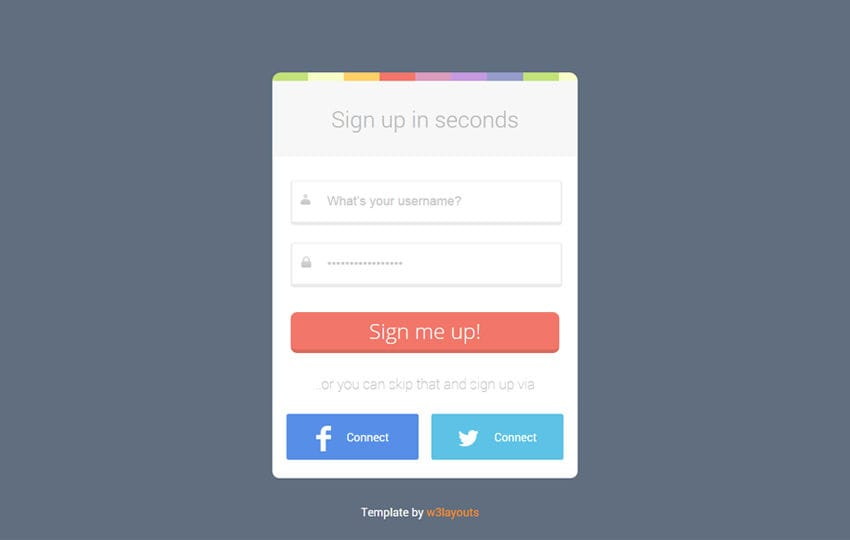 rainbow login form flat form template by w3layouts. Black Bedroom Furniture Sets. Home Design Ideas