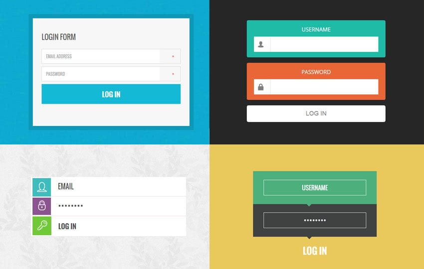 10 trendy login forms in flat design template by w3layouts for Html table css template
