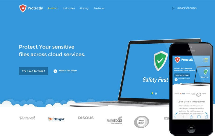 Protectly a Web Hosting Flat Bootstrap Responsive Web Template Mobile website template Free