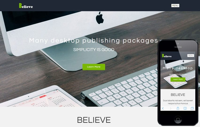 Believe a Corporate Portfolio Flat Bootstrap Responsive Web Template Mobile website template Free