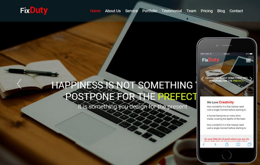 Fixduty a Corporate Business Flat Responsive Web Template Mobile website template Free