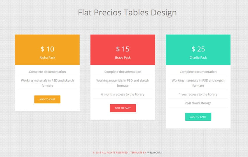 Flat precious tables design widget template by w3layouts for Table flat design