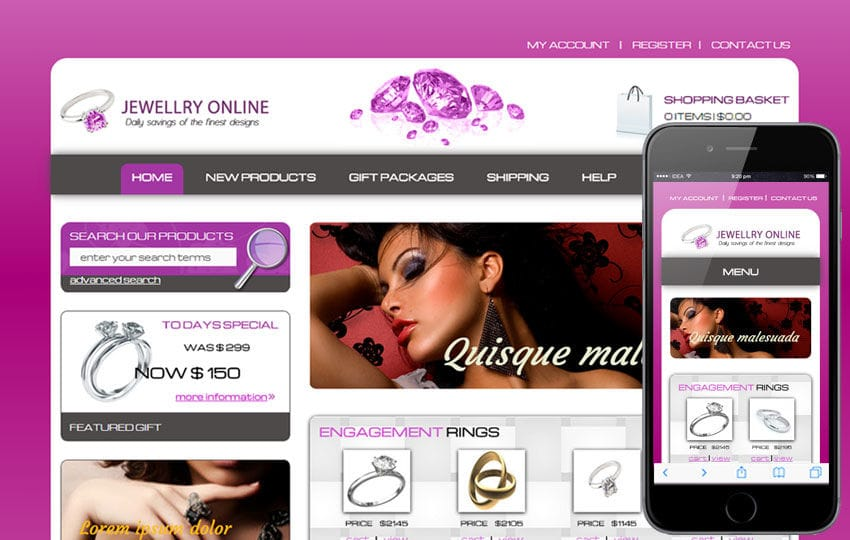 jewelry online a jewellery category flat responsive web template by