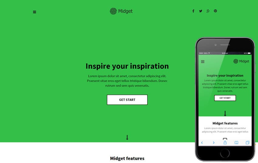 Midget a Personal Portfolio Flat Bootstrap Responsive Web Template Mobile website template Free