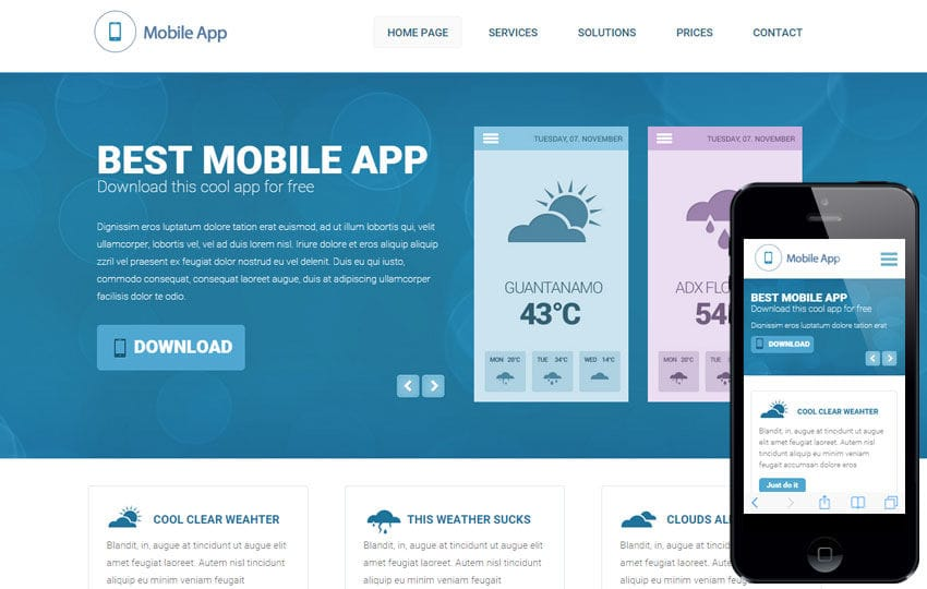 weather a mobile app based flat bootstrap responsive web template mobile website template free - Free Responsive Templates