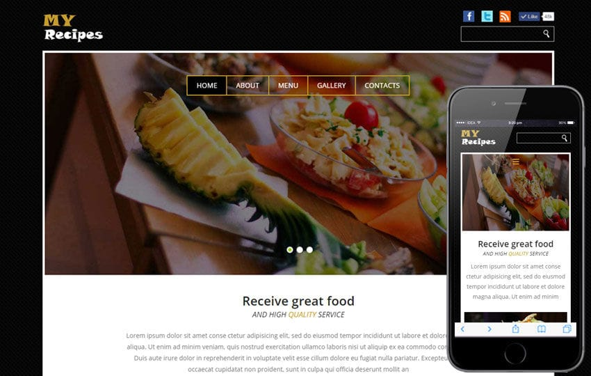 My Recipes a Hotel Category Flat Bootstrap Responsive Web Template Mobile website template Free