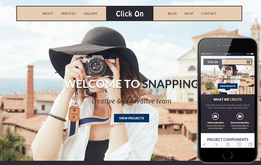 Click On a Photographer Portfolio Flat Bootstrap Responsive Web Template Mobile website template Free