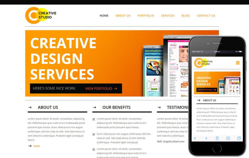 Creative Studio A Corporate Business Flat Bootstrap Responsive Web - Photo studio website template