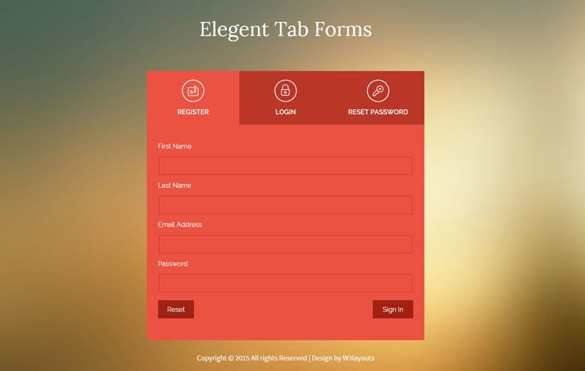Flat Style Elegent Tab Forms Widget Template By W3layouts