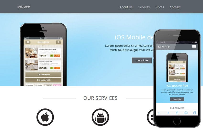 Min App a Mobile App based Flat Bootstrap Responsive Web Template Mobile website template Free