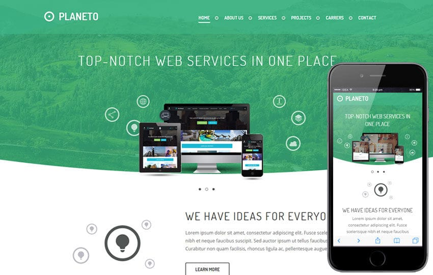 Planeto a Corporate Business Flat Bootstrap Responsive Web Template Mobile website template Free