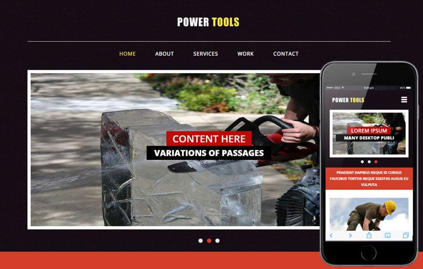 Power Tools a Industrial Category Flat Bootstrap Responsive Web Template Mobile website template Free