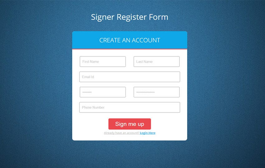 Signer Register Form Flat Responsive Widget Template by W3layouts