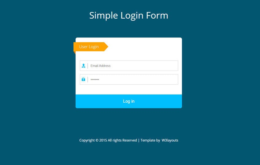 Simple flat login form widget template for Login page template in asp net