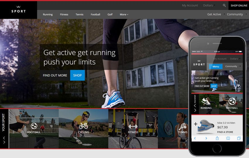 Sport a Flat Ecommerce Bootstrap Responsive Web Template Mobile website template Free