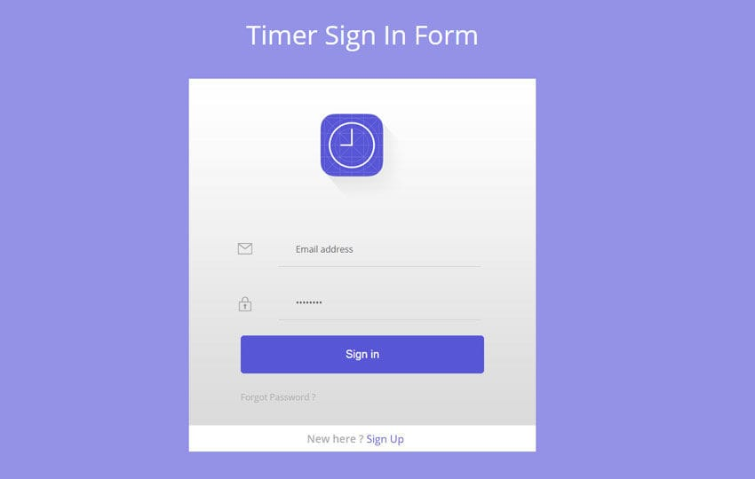 Timer Signin Form Flat Responsive Widget Template Mobile website template Free