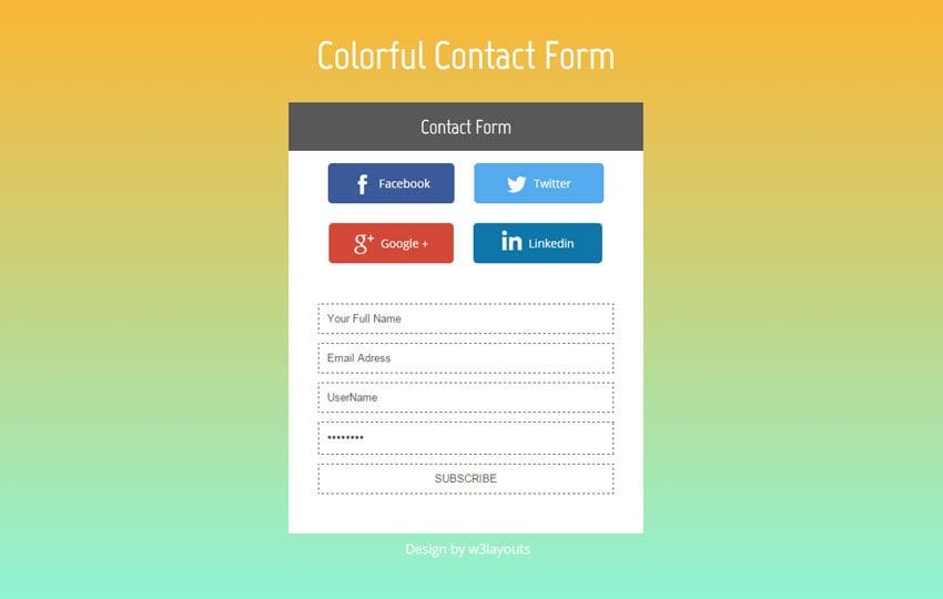 Colorful Contact Form Flat Widget Template by w3layouts