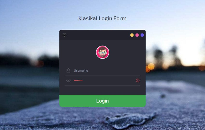 Klasikal Login Form Flat Responsive Widget Template By