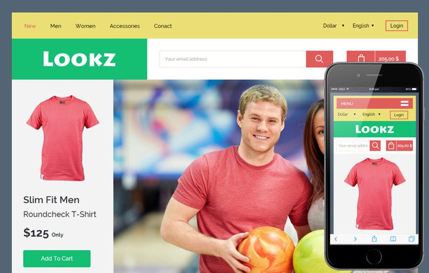 Lookz a Flat Ecommerce Bootstrap Responsive Web Template Mobile website template Free