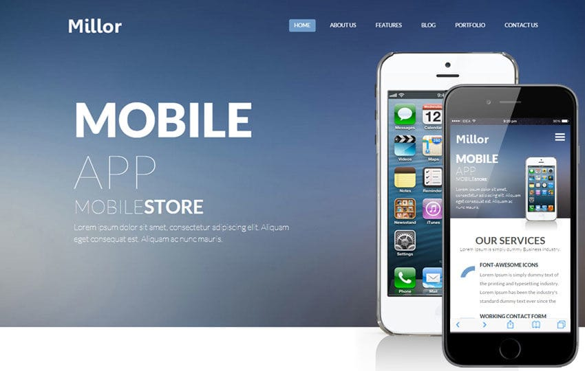 Millor a mobile app based flat bootstrap responsive web for Mobile site template free download