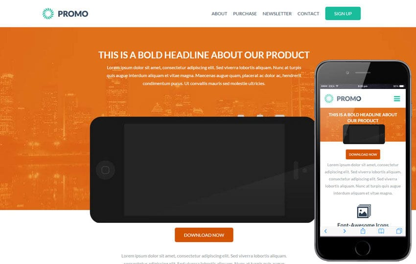 Promo a landingpage Multipurpose Flat Bootstrap Responsive Web Template Mobile website template Free