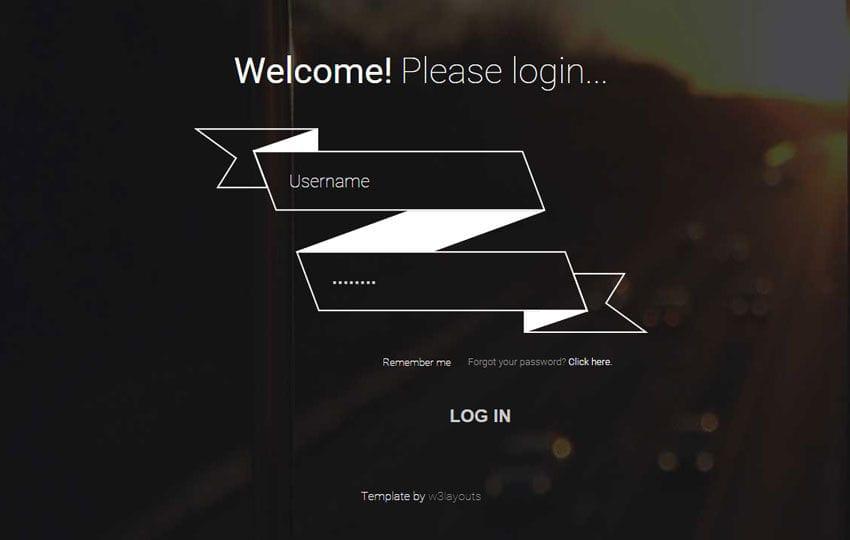 Ribbon Login Form Responsive Widget Template Mobile website template Free