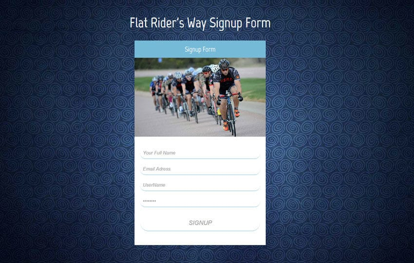 Flat Riders Way Signup Form Responsive Widget Template Mobile website template Free
