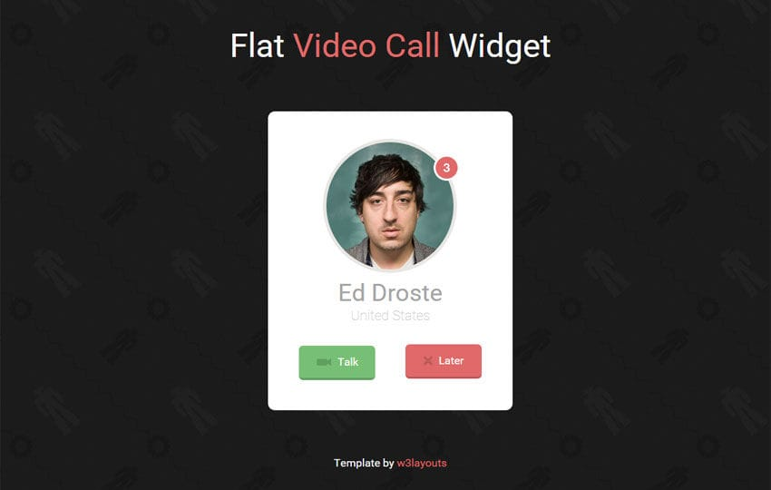 Flat Video Call Responsive Widget Template Mobile website template Free