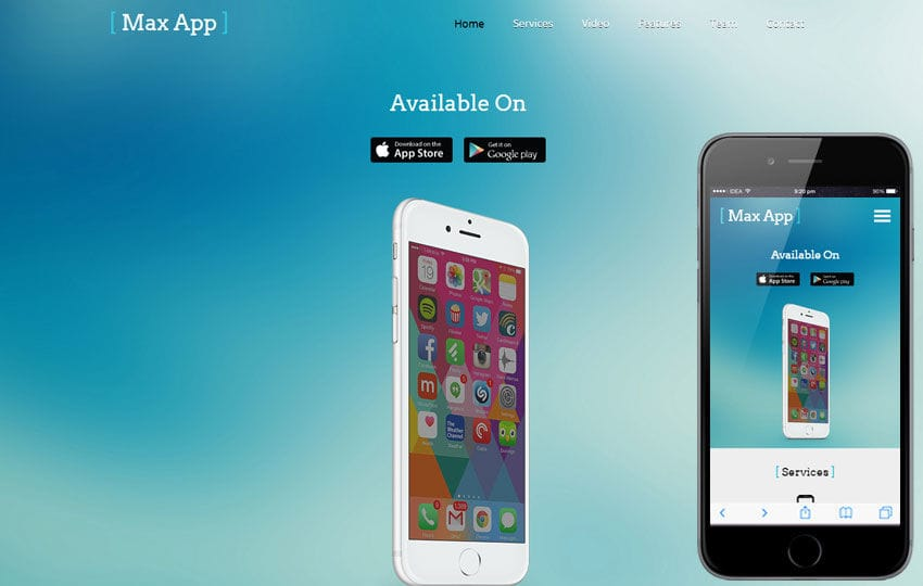 mobile app based flat bootstrap responsive web template mobile website