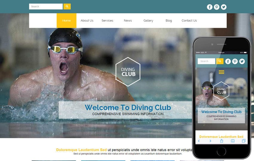 Diving Club a Sports Category Flat Bootstrap Responsive Web Template Mobile website template Free