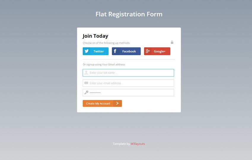 Flat Registration Form Responsive Widget Template By Wlayouts - Create web page template