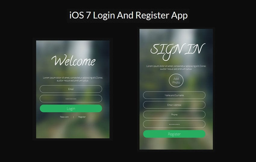ios7 login register app responsive widget template by