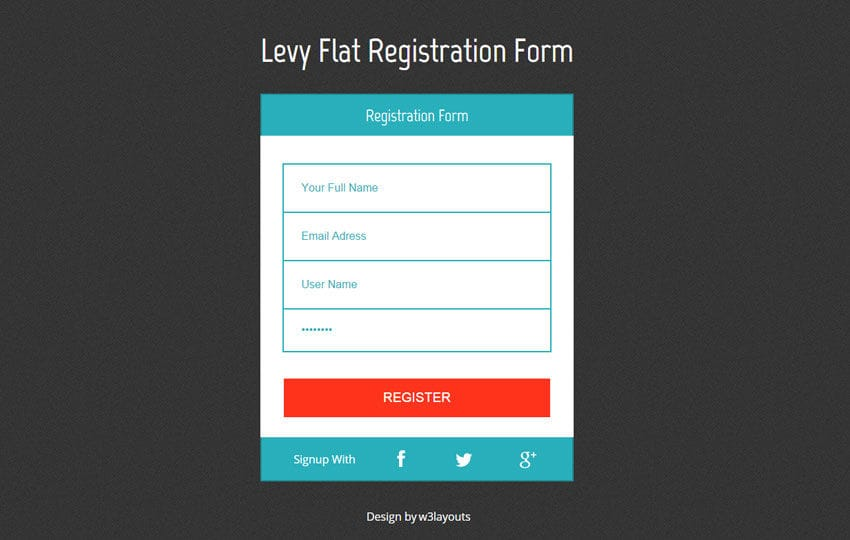 Levy Registration Form Responsive Widget Template by w3layouts