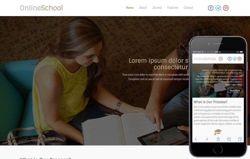Online School a Educational Category Flat Responsive web template Mobile website template Free