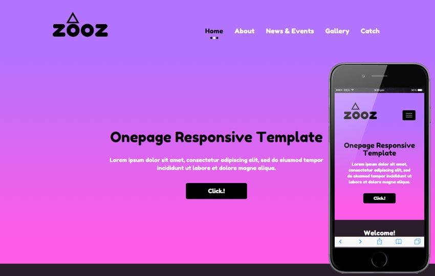 Zooz a landingpage Multipurpose Flat Bootstrap Responsive Web Template Mobile website template Free