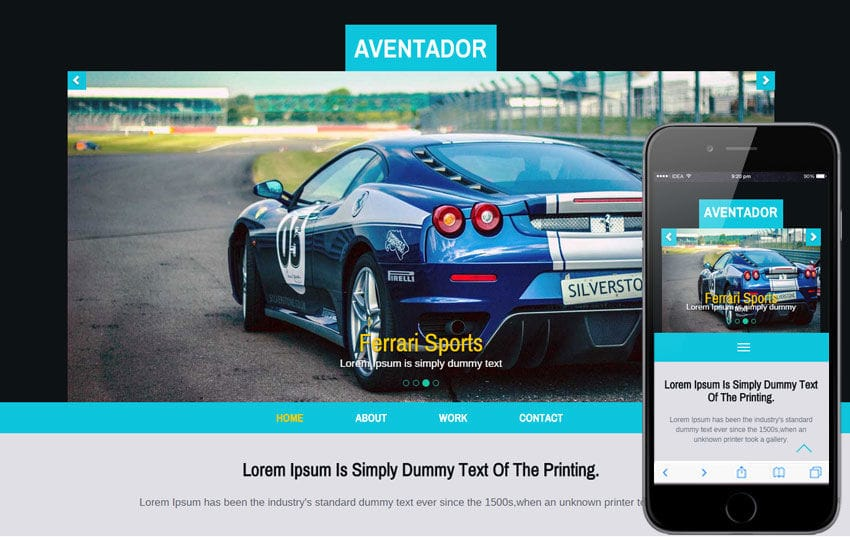 Aventador a Auto Mobile Category Flat Bootstrap Responsive Web Template Mobile website template Free