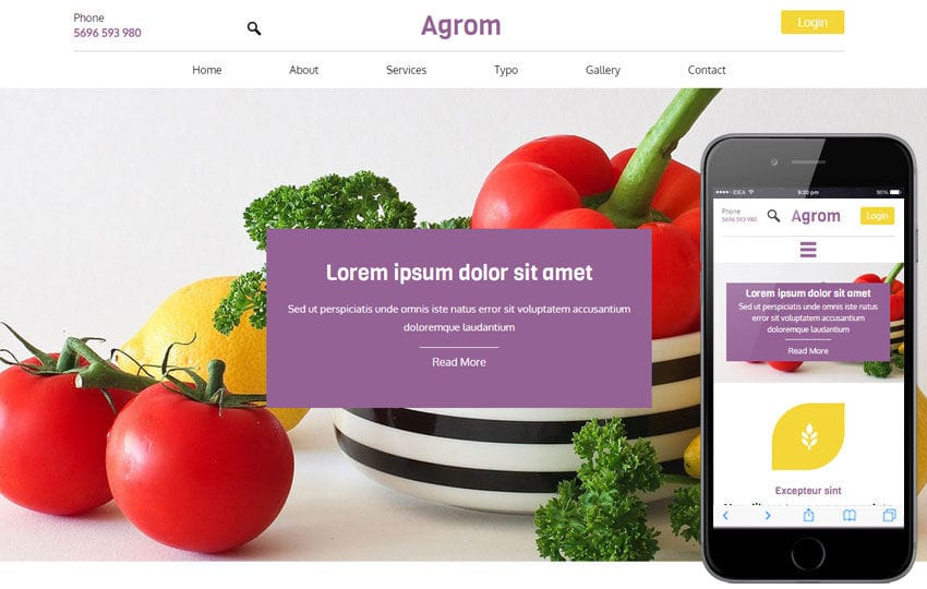 Agrom a Agriculture Category Flat Bootstrap Responsive Web Template Mobile website template Free