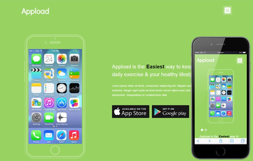 Appload a mobile app based flat bootstrap responsive web for Mobile site template free download