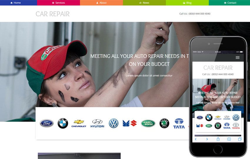 car repair a auto mobile category flat bootstrap responsive web