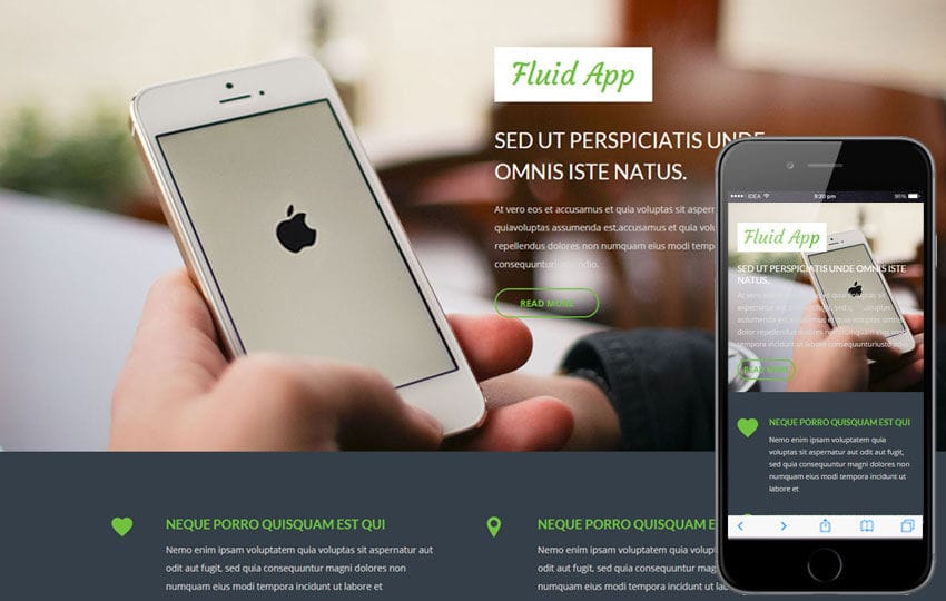 Fluid App a Mobile App based Flat Bootstrap Responsive Web Template Mobile website template Free