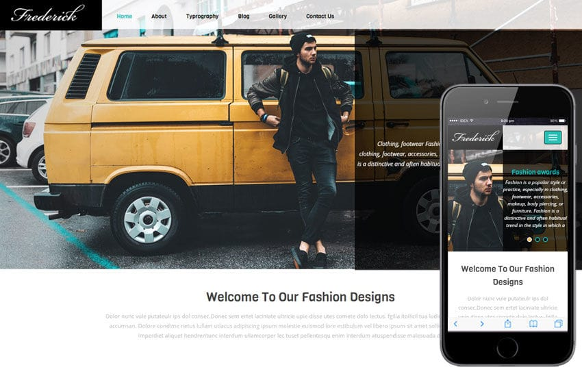 Frederick a Fashion Category Flat Bootstrap Responsive Web Template Mobile website template Free
