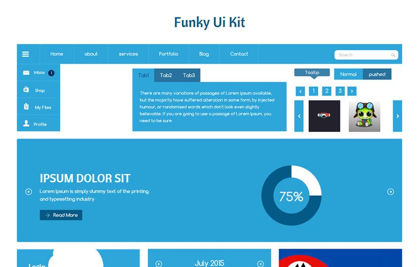 Funky UI Kit a Flat Bootstrap Responsive Web Template by w3layouts