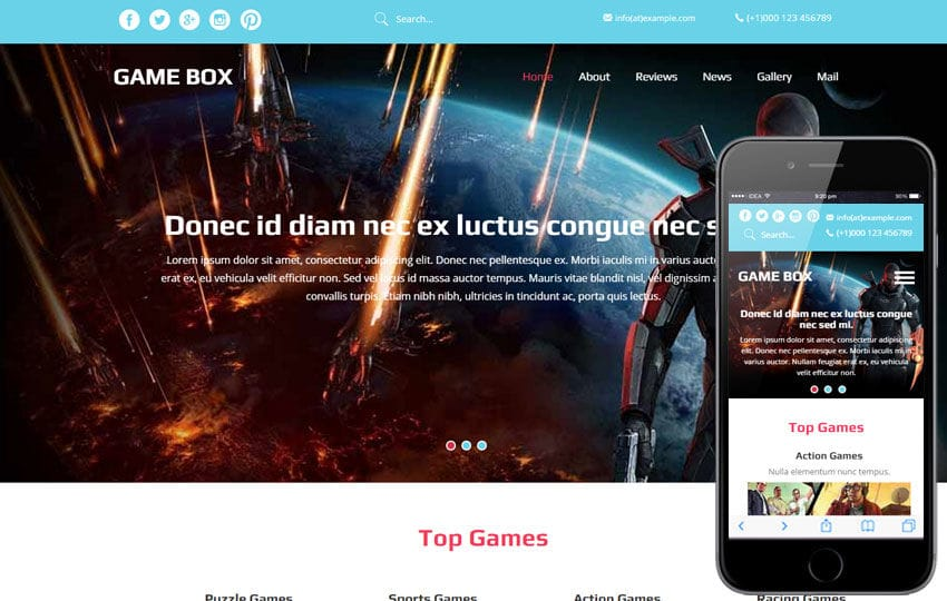 Game Box A Games Category Flat Bootstrap Responsive Web Template By - Gaming website template