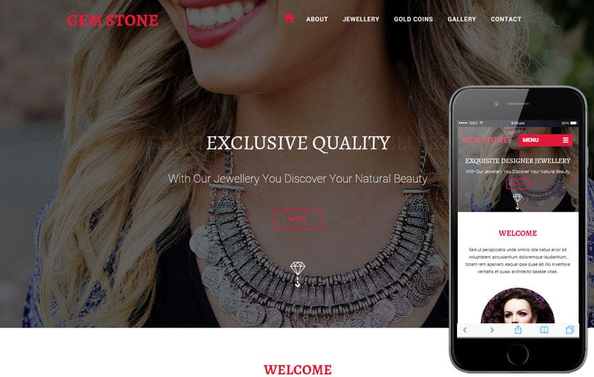 Gem Stone a Jewelry Category Flat Responsive Web Template Mobile website template Free